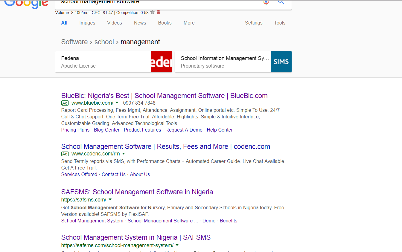 School Management software Organic search results